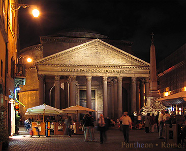 Life in Piazza della Minerva at night, in front of the Pantheon.